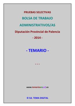 Temario Bolsa Administrativos/as Diputación de Palencia