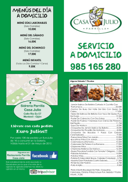 Descarga nuestro folleto - Restaurante Parrilla Casa Julio