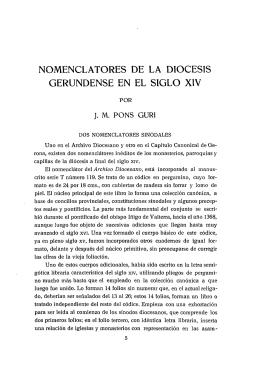 nomenclatures de la diòcesis gerundense en el siglo xiv
