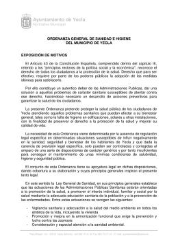 Ordenanza General de Sanidad e Higiene del Municipio de Yecla
