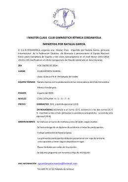 I MASTER CLASS CLUB GIMNÀSTICA RÍTMICA CERDANYOLA