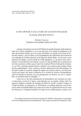 A cien años de Juana Lucero, de Augusto D Halmar