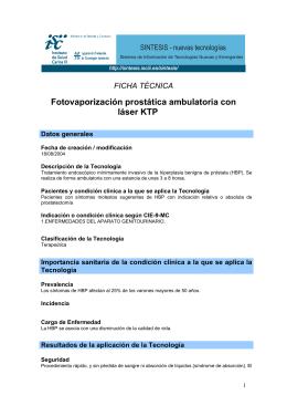 Fotovaporización prostática ambulatoria con láser KTP