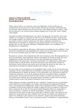 Carta de un Piloto de LAN Chile Sobre el candidato