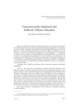 7. Caracterización lingüística del habla de Villena (Alicante)