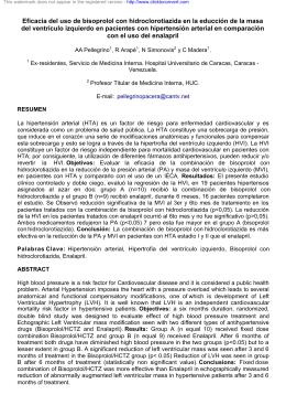 Eficacia del uso de bisoprolol con hidroclorotiazida
