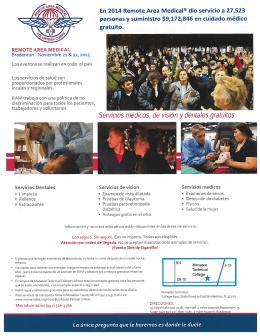 Servicios medicos, de visián y dentales gratuitos