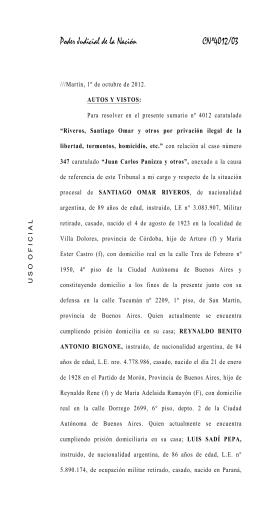 Procesamiento de Riveros, Bignone, Sadi Pepa