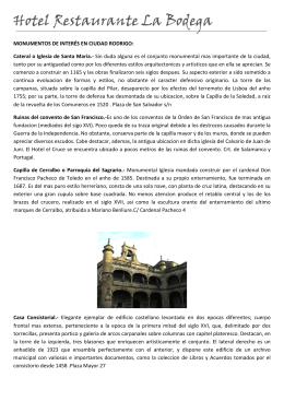 MONUMENTOS DE INTERÉS EN CIUDAD RODRIGO: Cateral o