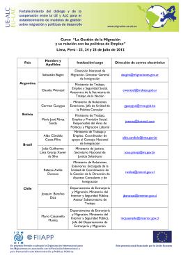 Lista de contacto de los participantes - UE-ALC