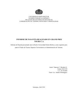 Informe de Pasantías Realizado en Grand Prix C.A