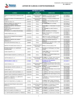 listado de clinicas a costos razonables distrito