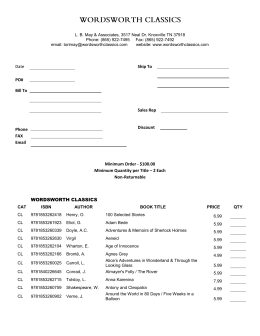 Order Form - Wordsworth Classics