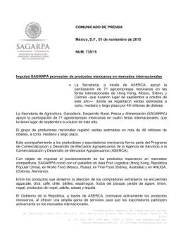 COMUNICADO DE PRENSA México, D.F., 01 de