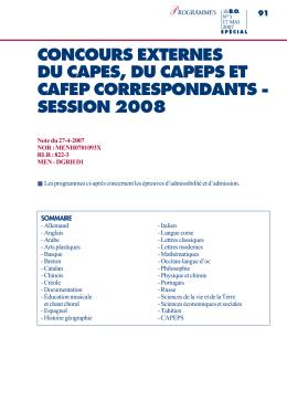 concours externes du capes, du capeps et cafep correspondants