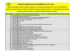 EXENTOS GENERALES CON NÚMERO DE CUIT 2010