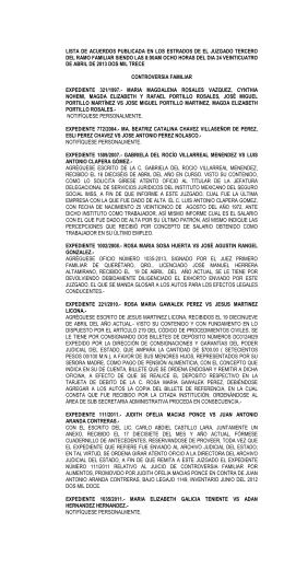 lista de acuerdos publicada en los estrados de el juzgado tercero