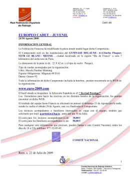 Información General Campeonato Europeo CADETE JUVENIL 2009