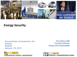 Energy Security - Economics for Energy