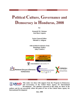 Political Culture, Governance and Democracy in Honduras, 2008