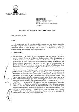 TRIBUNAL CONSTITUCIONAL RESOLUCIÓN DEL TRIBUNAL