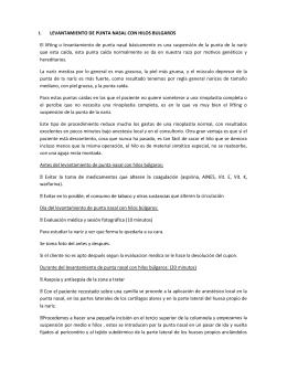 I. LEVANTAMIENTO DE PUNTA NASAL CON HILOS BULGAROS El
