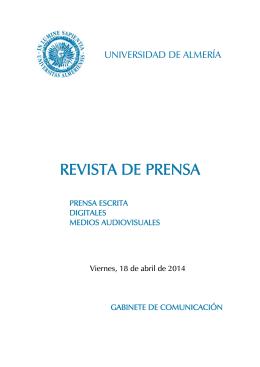 REVISTA DE PRENSA - Universidad de Almería