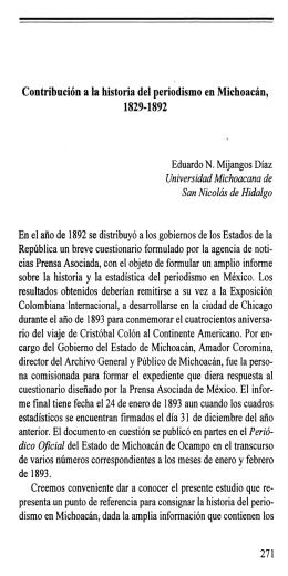 Contribución a la historia del periodismo en Michoacán, 1829-1892
