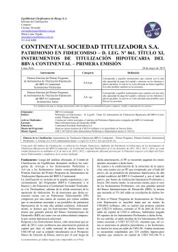 Continental S.T. Bonos de Titulización Hipotecaria Banco Continental