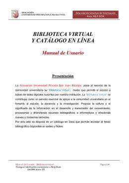 BIBLIOTECA VIRTUAL Y CATÁLOGO EN LÍNEA