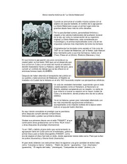 "Breve reseña histórica de ""La Gloria Matancera"" Cuando se"