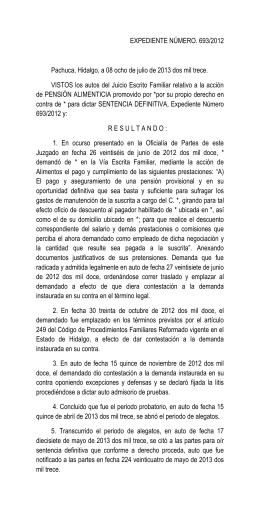 EXPEDIENTE NÚMERO. 693/2012 Pachuca, Hidalgo, a 08 ocho de