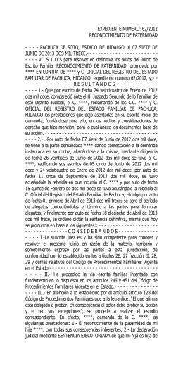 expediente numero: 62/2012 reconocimiento de paternidad