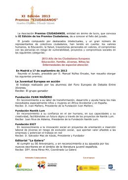 """XI Edición 2013 Premios """"CIUDADANOS"""""""