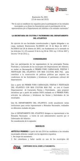 Resolución No. 0001 (15 de enero del 2015)
