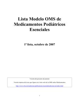Lista Modelo OMS de Medicamentos Pediátricos Esenciales