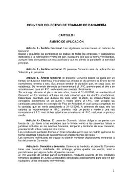 CONVENIO COLECTIVO DE TRABAJO DE PANADERÍA
