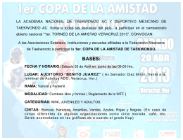 CONVOCATORIA 1 TORNEO DE LA AMISTAD TKD