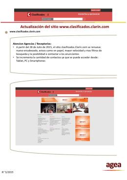 Actualizacion del Sitio www.clasificados.clarin.com