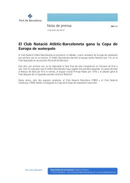 Nota de prensa El Club Natació Atlètic