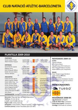 club natació atlètic-barceloneta ocinadores: plantilla 2009-2010