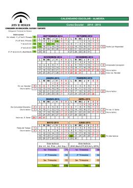 Curso Escolar 2014 - 2015 CALENDARIO