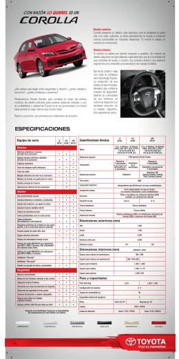 ESPECIFICACIONES - Toyota Saltillo