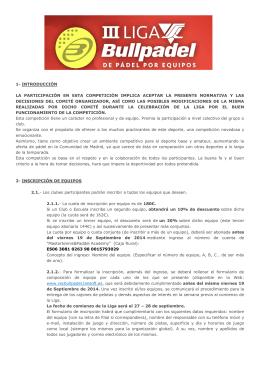 Liga VSC BullPadel MAYORES - Inicio