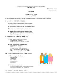 COLOSENSES: BOSQUEJOS EXPOSITIVOS, Sección