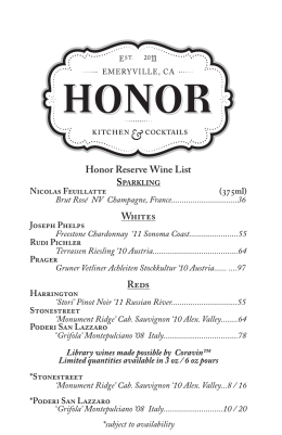 Honor Reserve Wine List Whites Reds
