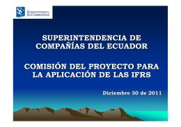 LAS NIIF EN EL ECUADOR - Superintendencia de Compañías