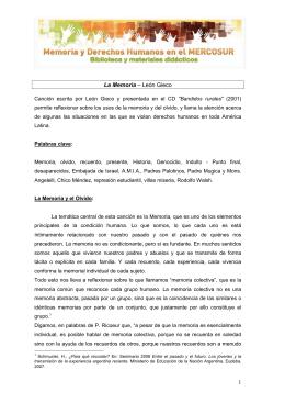 Propuesta didáctica sobre la canción La Memoria de León Gieco