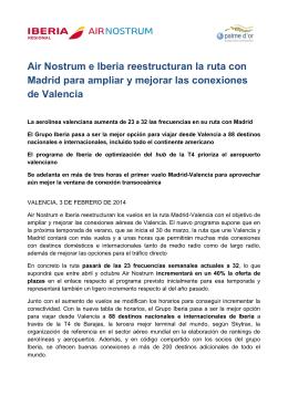Air Nostrum e Iberia reestructuran la ruta con Madrid para ampliar y