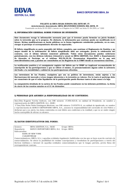 FOLLETO de BBVA BOLSA EUROPA DEL ESTE MF, FI